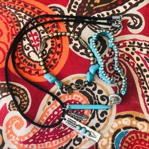 2 AEO turquoise bracelets and necklace